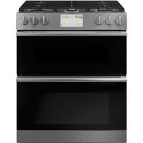 """Café™ 30"""" Smart Slide-In, Front-Control, Dual-Fuel, Double-Oven Range with Convection in Platinum Glass C2S950M2NS5"""