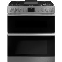 """Café™ 30"""" Smart Slide-In, Front-Control, Gas Double-Oven Range with Convection in Platinum Glass CGS750M2NS5"""