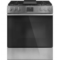 """Café 30"""" Slide-In Front Control Gas Oven with Convection Range with Warming Drawer CGS700M2NS5"""