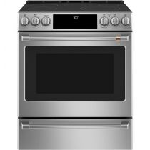 """Café™ 30"""" Slide-In Front Control Radiant and Convection Range with Warming Drawer"""