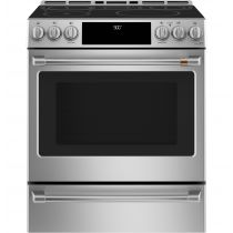 "Cafe 30"" Smart Slide-In Front Control Induction and Convection Range with Warming Drawer CHS90XP2MS1"