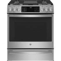 "GE Profile 30"" Smart Dual Fuel Slide-In Front-Control Fingerprint Resistant Range P2S930YPFS"