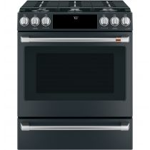 """Café 30"""" Slide-In Front Control Gas Oven with Convection Range with Warming Drawer CGS700P3MD1"""