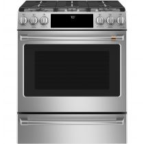 """Café 30"""" Slide-In Front Control Gas Oven with Convection Range with Warming Drawer CGS700P2MS1"""