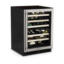"""Marvel 24"""" Panel Overlay Frame Glass Door/Solid Panel Overlay Door High Efficiency Dual Zone Wine Cellar"""