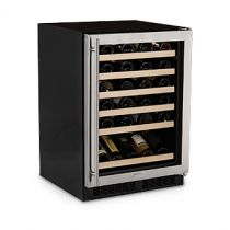 "Marvel 24"" Stainless Steel Frame Glass Door/Smooth Black Frame Glass Door High Efficiency Single Zone Wine Cellar"